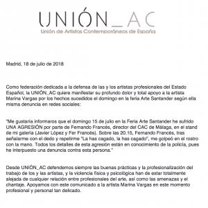 La UNIÓN A.C. muestra su apoyo a la artista Marina Vargas