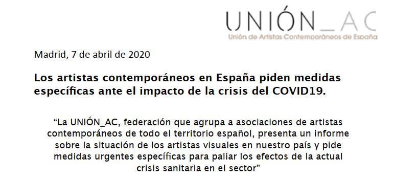 Los artistas contemporáneos en España piden medidas específicas ante el impacto de la crisis del COVID19